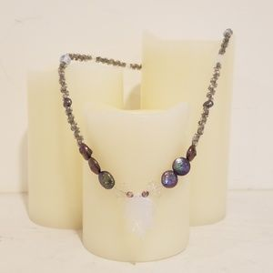 Handmade Bead Necklace with Iridescent Glass Leaf